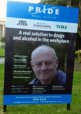 Integrity Sampling has partnered with First Step and their patron Tim Costello to help support Toll employees with drug and alcohol issues