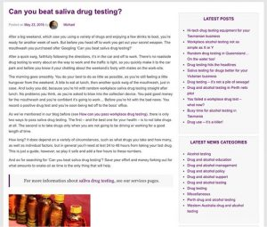 Drug and alcohol topics on Integrity Sampling's website are proving popular.