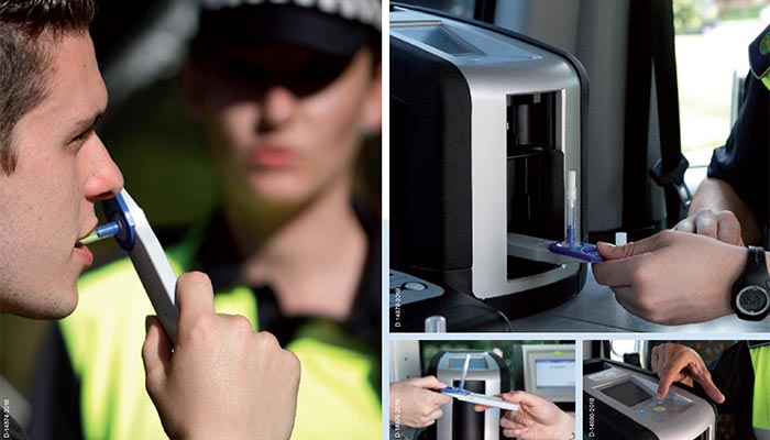 How does roadside and workplace drug testing take place? What is the process and what equipment is used?